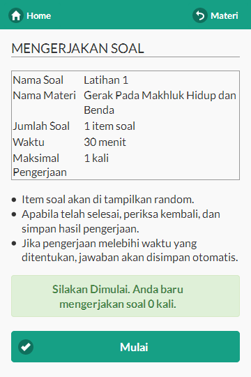 Kerjakan Soal e-learning android